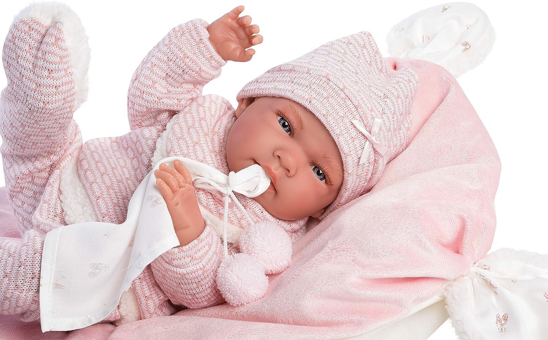 Muñeca nica, con Ojos Azules y Cuerpo de Vinilo, muñeca para bebé con Traje Rosa, Manta, Chupete, Cadena para Chupete y cojín Suave, 40 cm