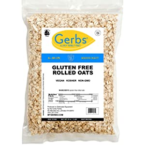 GERBS Traditional Rolled Oats, 32 ounce Bag, Top 14 Food Allergy Free, Non GMO, Pesticide Free, Keto, Paleo Friendly