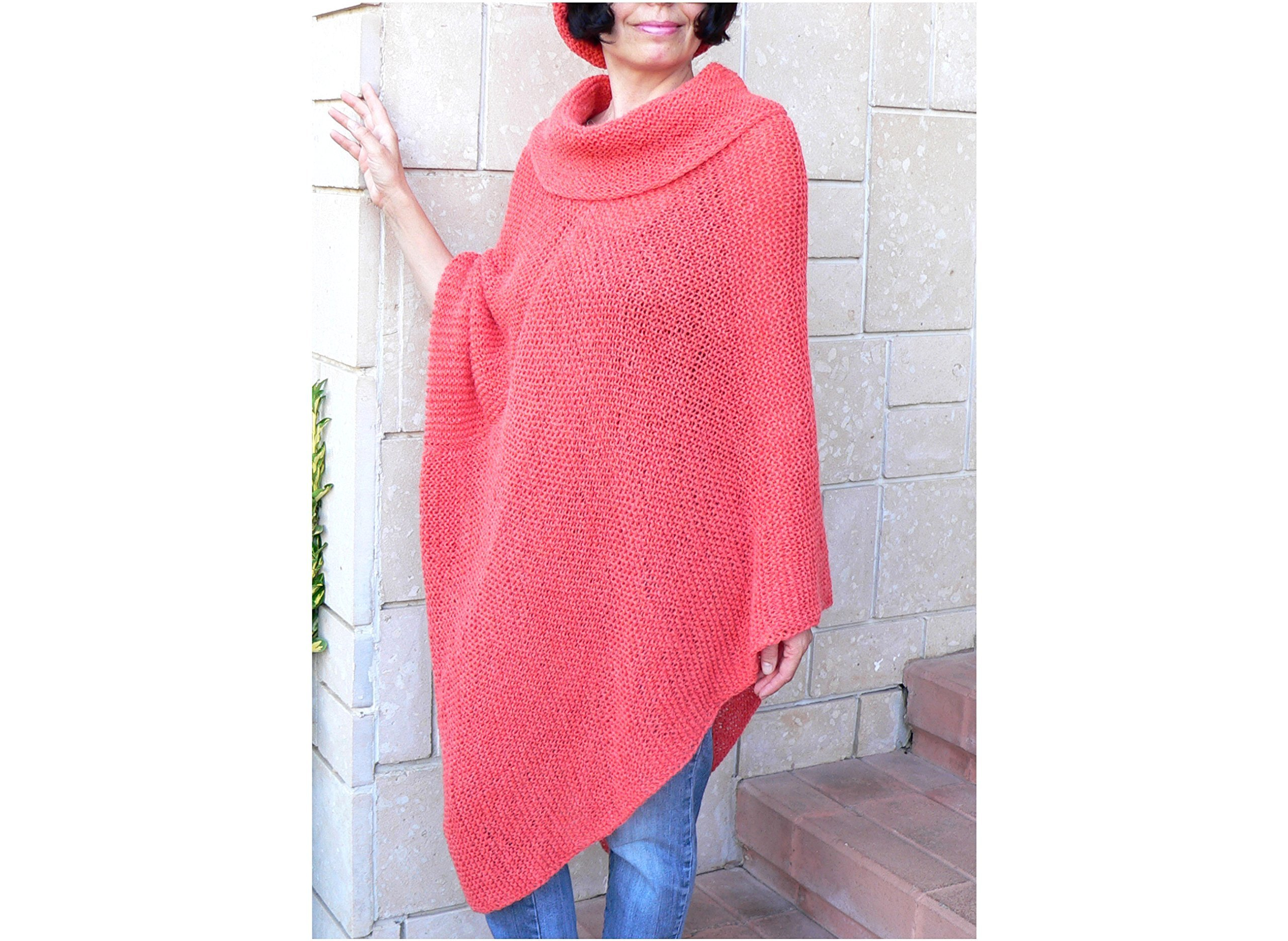 Slouchy Bulky Loose Fit Oversize Handknit Sweater Cozy Alpaca Wool Set Poncho Hat Women Shawl Christmas Red Orange Color Big Cowl Neck