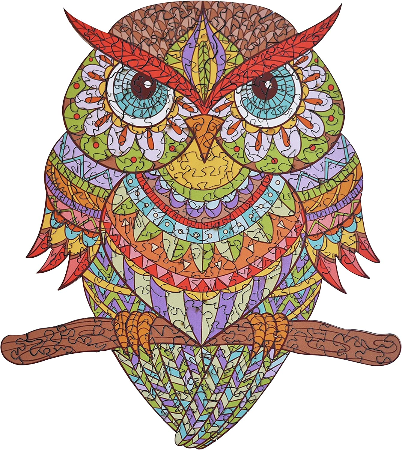 Wooden Jigsaw Puzzles - Colorful Owl Hartmaze HM-04 Small Bird Puzzle 206 Unique Shape Jigsaw Pieces-Beautiful Animal for Adults and 8 Years Age up Teens- Best for Family Game Play Collection.