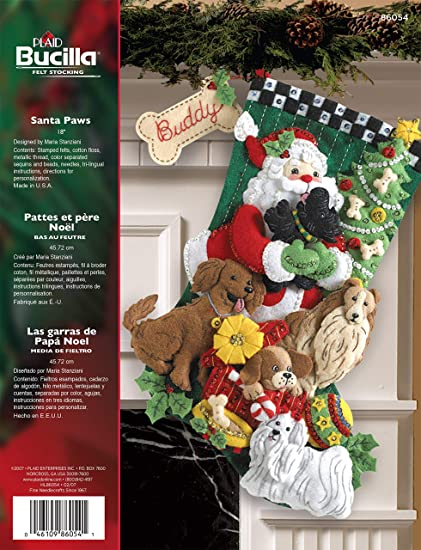 Bucilla 18 Inches Christmas Stocking Felt Appliqué Kit 86054 Santa Paws