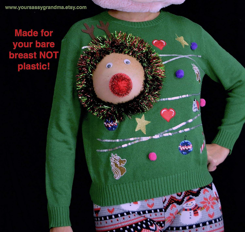 Amazoncom Ugly Christmas Sweater Reindeer Boob Womens Large