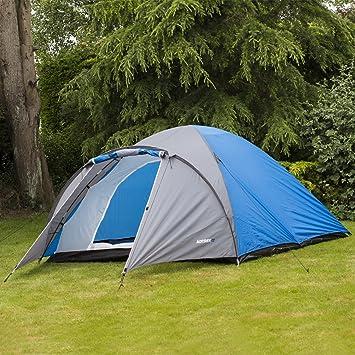 Adtrek Blue/Grey Double Skin Dome 4 Man Berth C&ing Festival Family Tent & Adtrek Blue/Grey Double Skin Dome 4 Man Berth Camping Festival ...