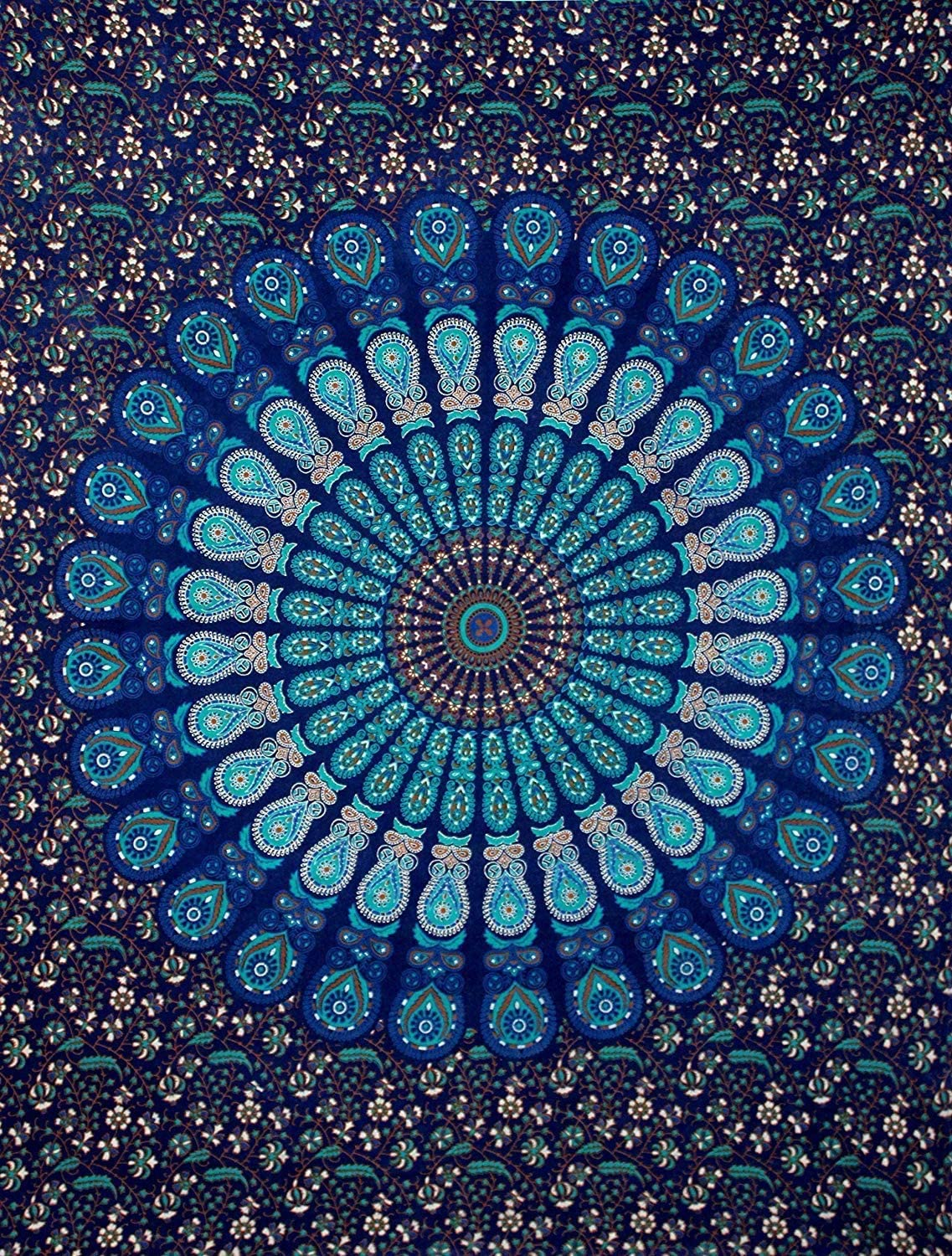 THRIVING Indian Mandala Tapestry Peacock Feather Handmade Cotton Wall Hanging Beach Blanket Throws Hippie Tapestries Yoga Mat Home Drom Decor Bedspread Bohemian Wall Decor Table,Sofa Cover