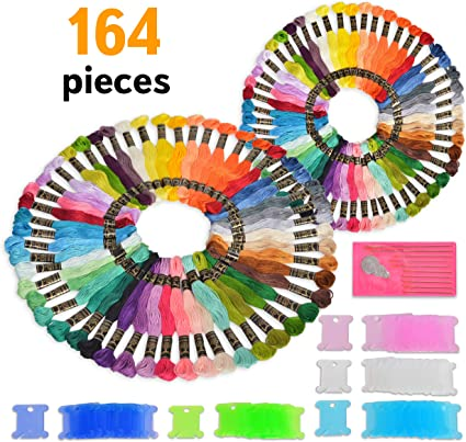 Embroidery Needles and DMC Color Cards Included Premium 164 Pieces Embroidery Floss and Accessories Bobbins 2 Pack Ideal Gift Friendship Bracelet Thread