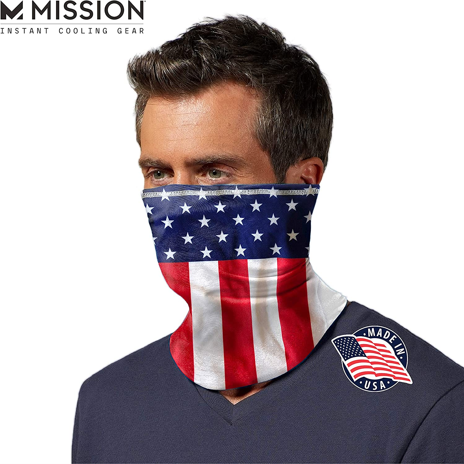 Cools when Wet- USA Flag Mission Cooling Neck Gaiter 6+ Ways To Wear Face Mask UPF 50