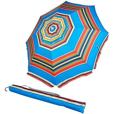Basics Beach Umbrella - Blue/Red Striped : Garden & Outdoor