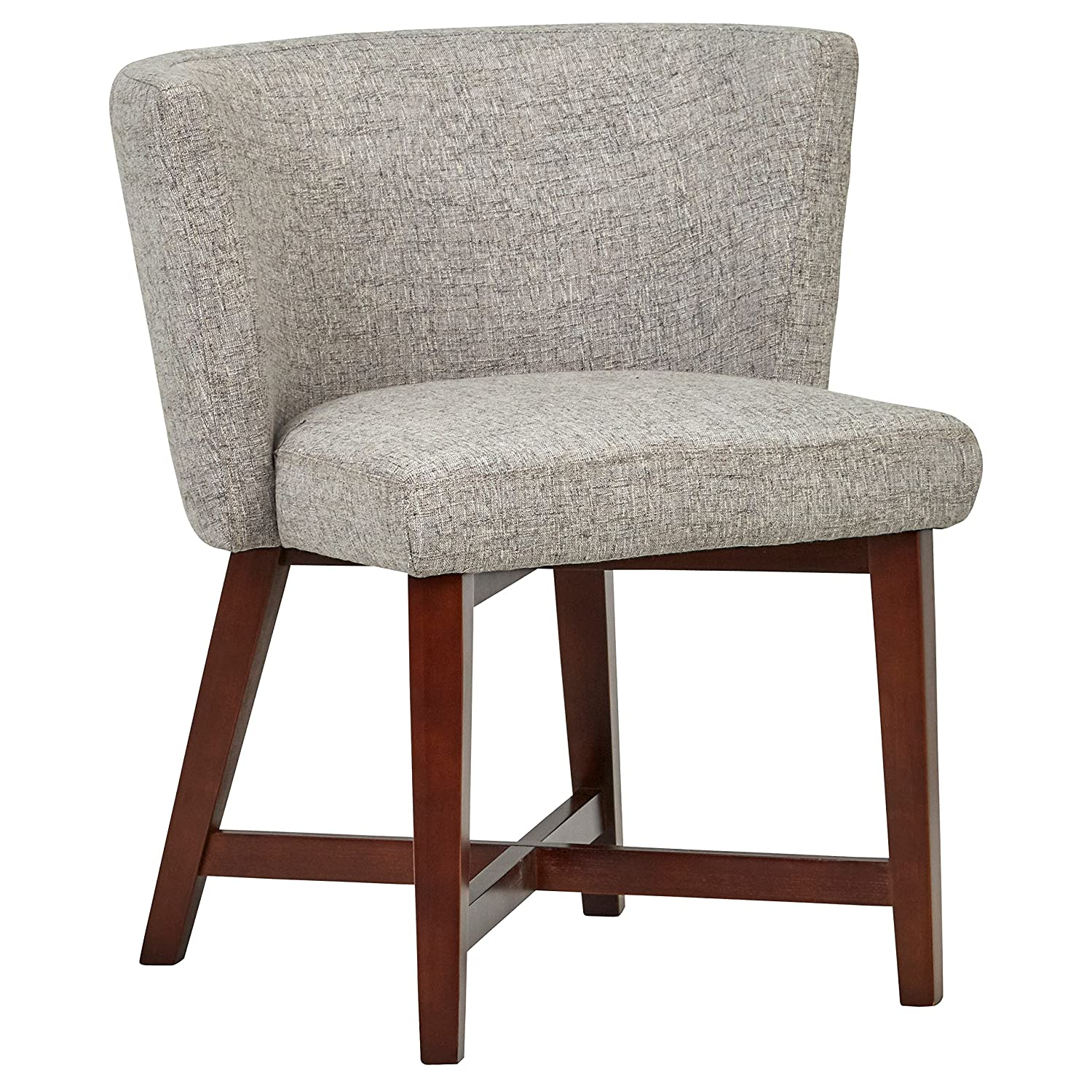 Rivet Intersection Mid-Century Modern Curved Back Accent Dining Room Kitchen Chair, 29.9 Inch Height, Light Grey, Wood