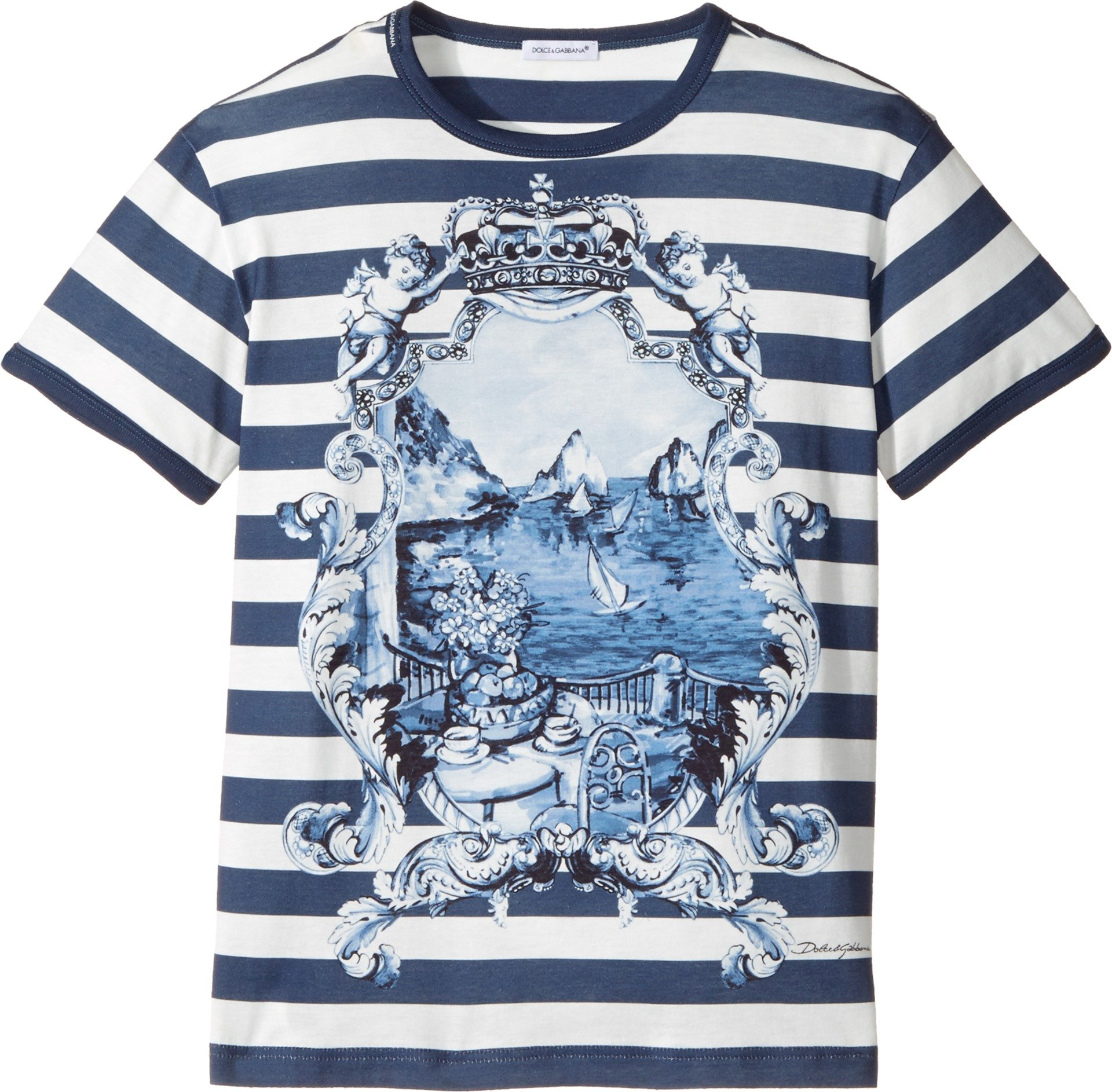 Dolce & Gabbana Kids Boy's Capri Bold Stripe Maiolica T-Shirt (Big Kids) Blue 10 Big Kids by Dolce & Gabbana