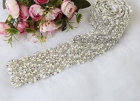 Queendream da sposa con strass passamanerie applique strass