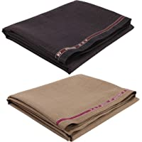 Raymond Men's Poly Cotton Self Design Unstitched Trouser Fabric Combo of 2 Pieces,1.2 m Cut Eatch (Brown, Free Size)