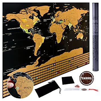 Scratch off world map deluxe edition poster with country flags scratch off world map deluxe edition poster with country flags track your adventures gumiabroncs Images