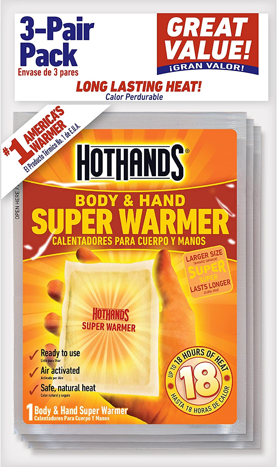 HotHands Body & Hand Super Warmers - Long Lasting Safe Natural Odorless Air Activated Warmers - Up to 18 Hours of Heat - 3 Individual Warmers