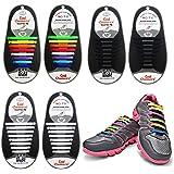 3 Pairs Lazy No Tie Silicone Shoelace, Oumers Rubber Elastic Slip Sneaker Shoe Laces Running Shoelaces Athletic Shoe laces, 1 pair Black + 1 pair White + 1 pair multi color