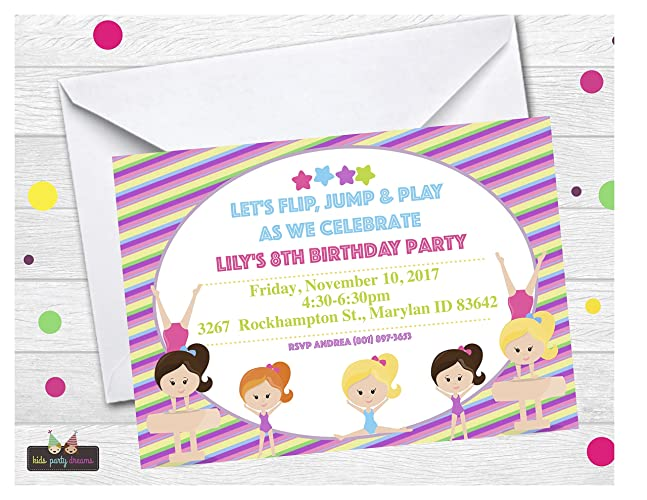 Amazon Gymnastic Invitation Customized Set Of 14 Free