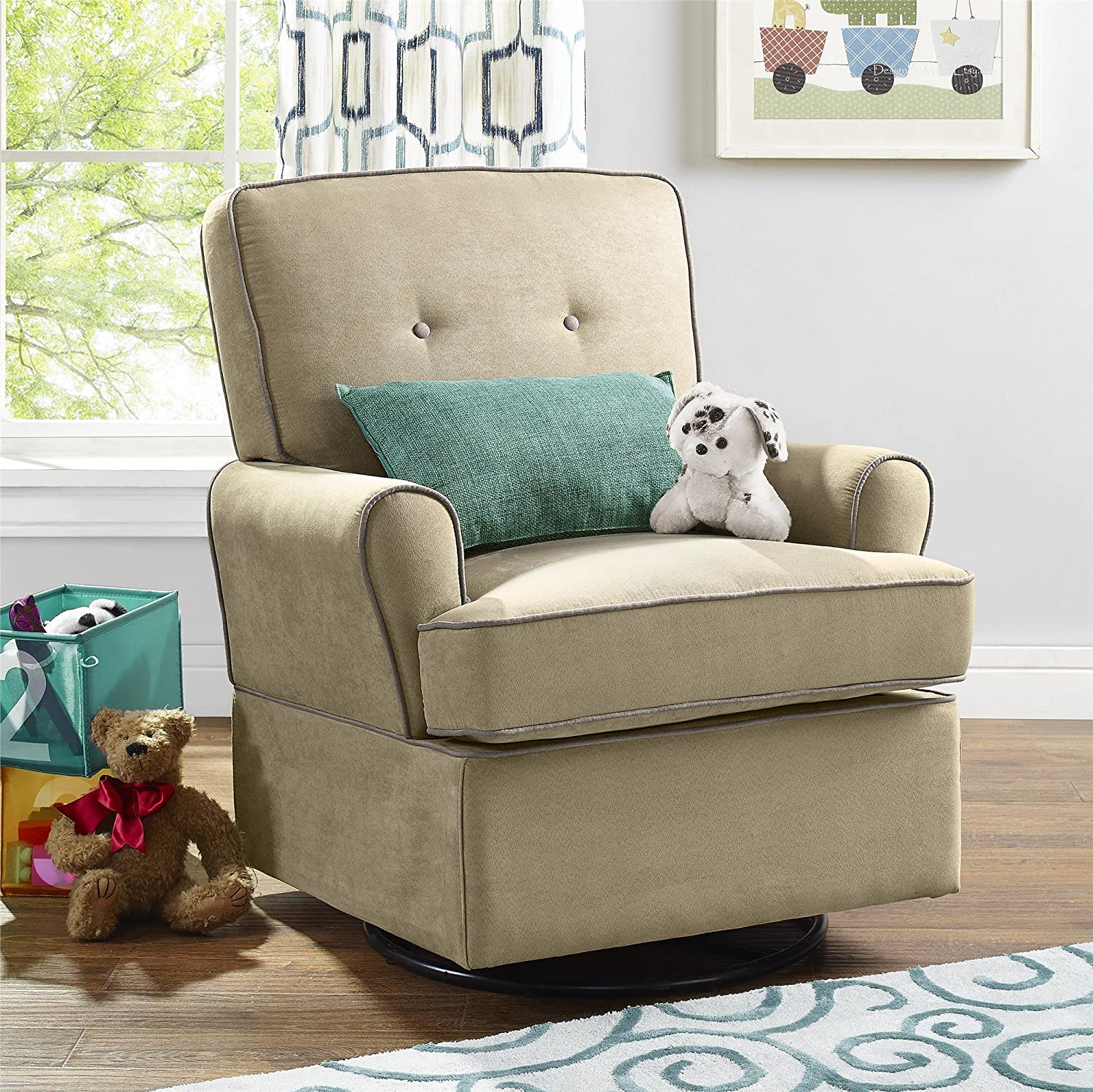 Amazon.com: Baby Relax The Tinsley Nursery Swivel Glider Chair, Beige: Baby