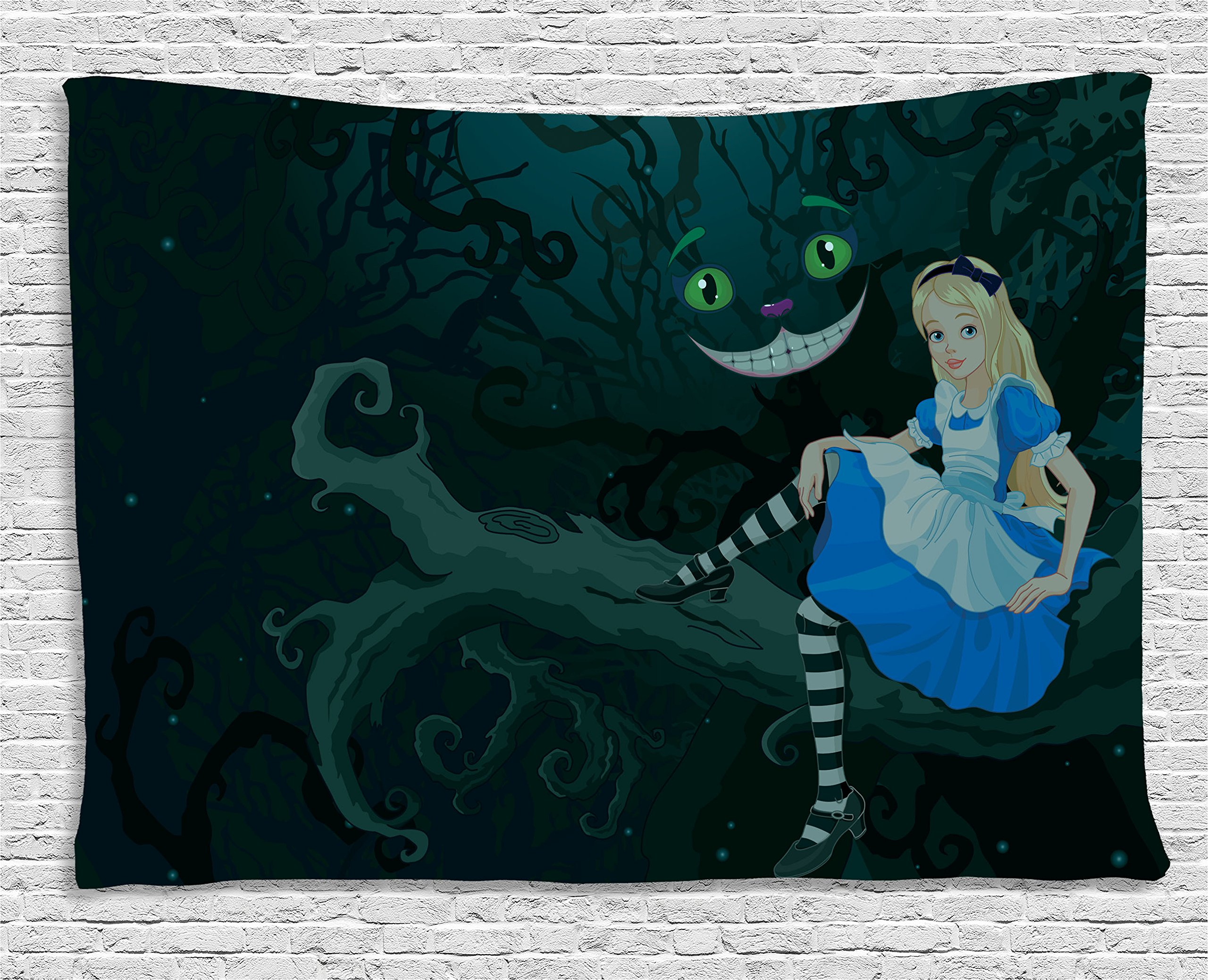 Ambesonne Alice in Wonderland Decor Tapestry, Alice Sitting on Branch with Chescire Cat in Darkness Striped Cartoon Love, Wall Hanging for Bedroom Living Room Dorm, 80 W X 60 L inch, Multi Color