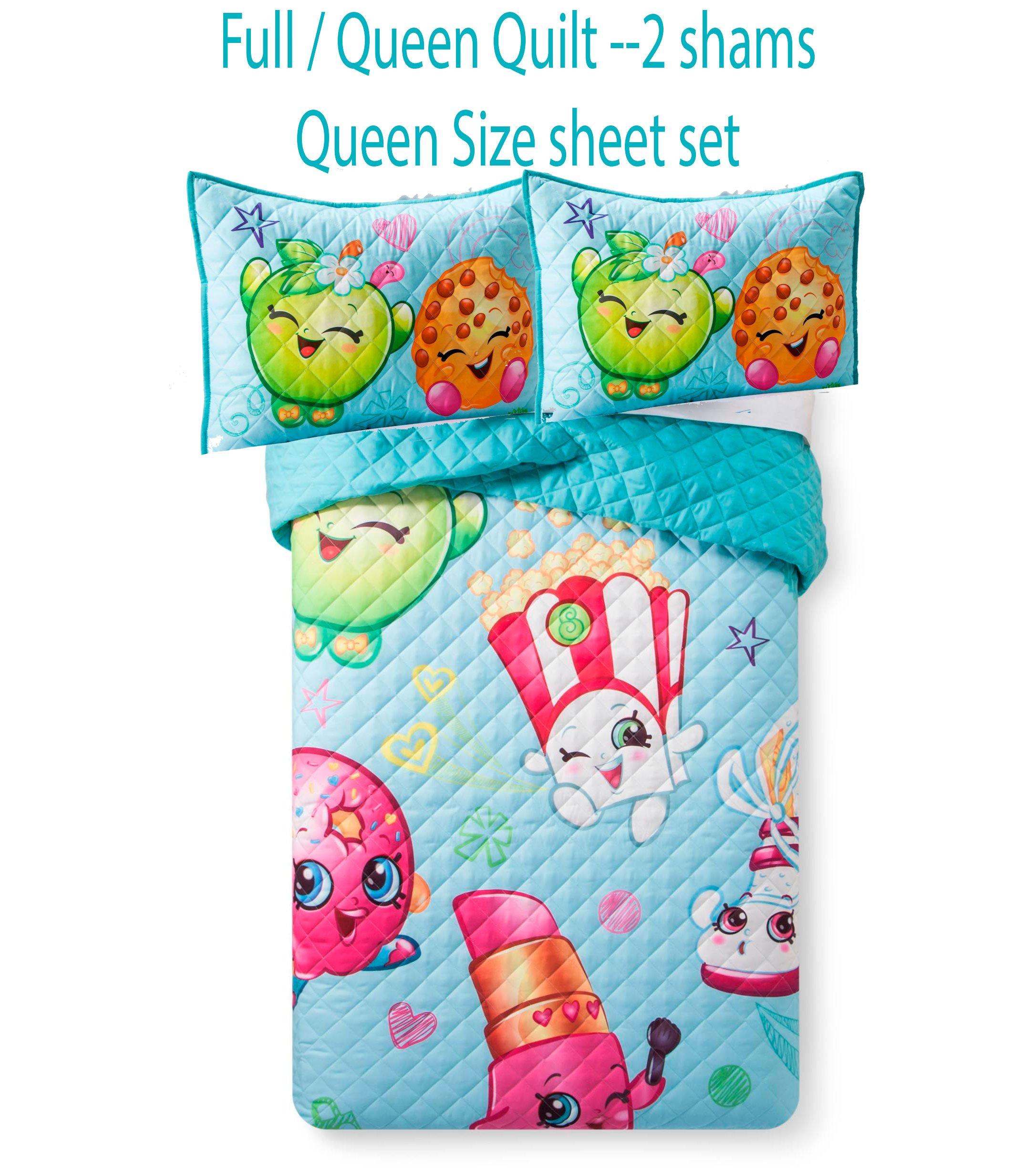 7 Piece Quilt Set Queen Size Quilt, 2 shams & 4 Piece Queen Sheet Set Shopkins