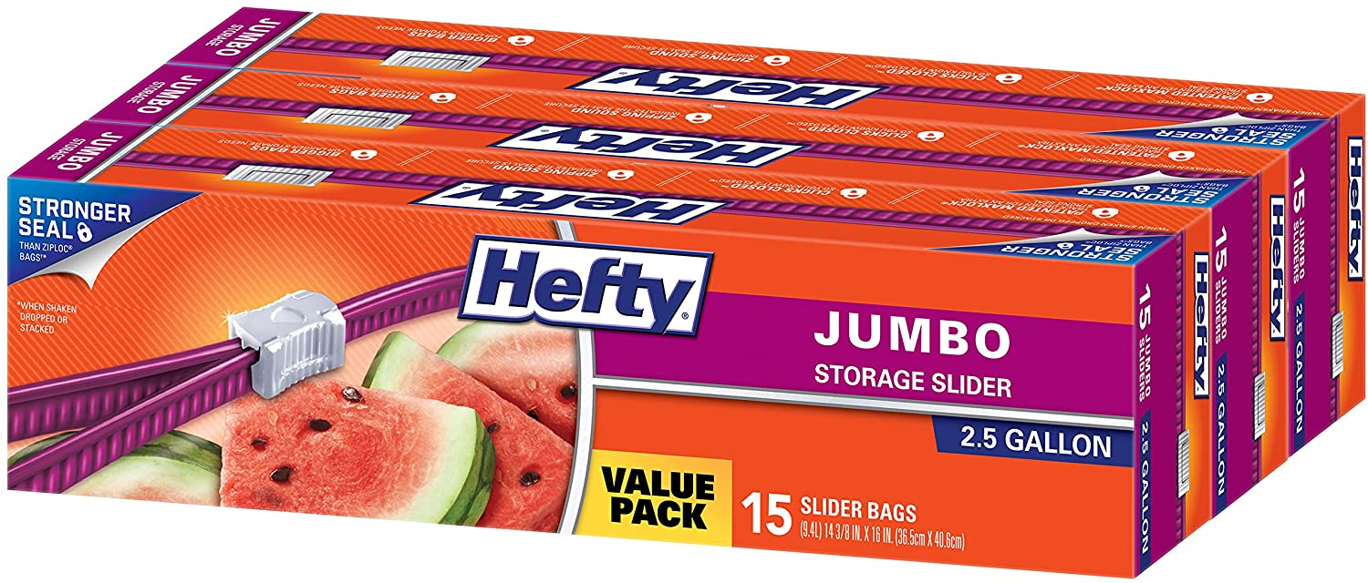 Hefty Slider Jumbo Storage Plastic Bags - 2.5 Gallon Size, 3 Boxes of 15 Bags (45 Total)