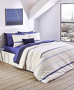 Lacoste Malibu Cotton Comforter & Sham Set, Full/Queen, Ivory/Blue