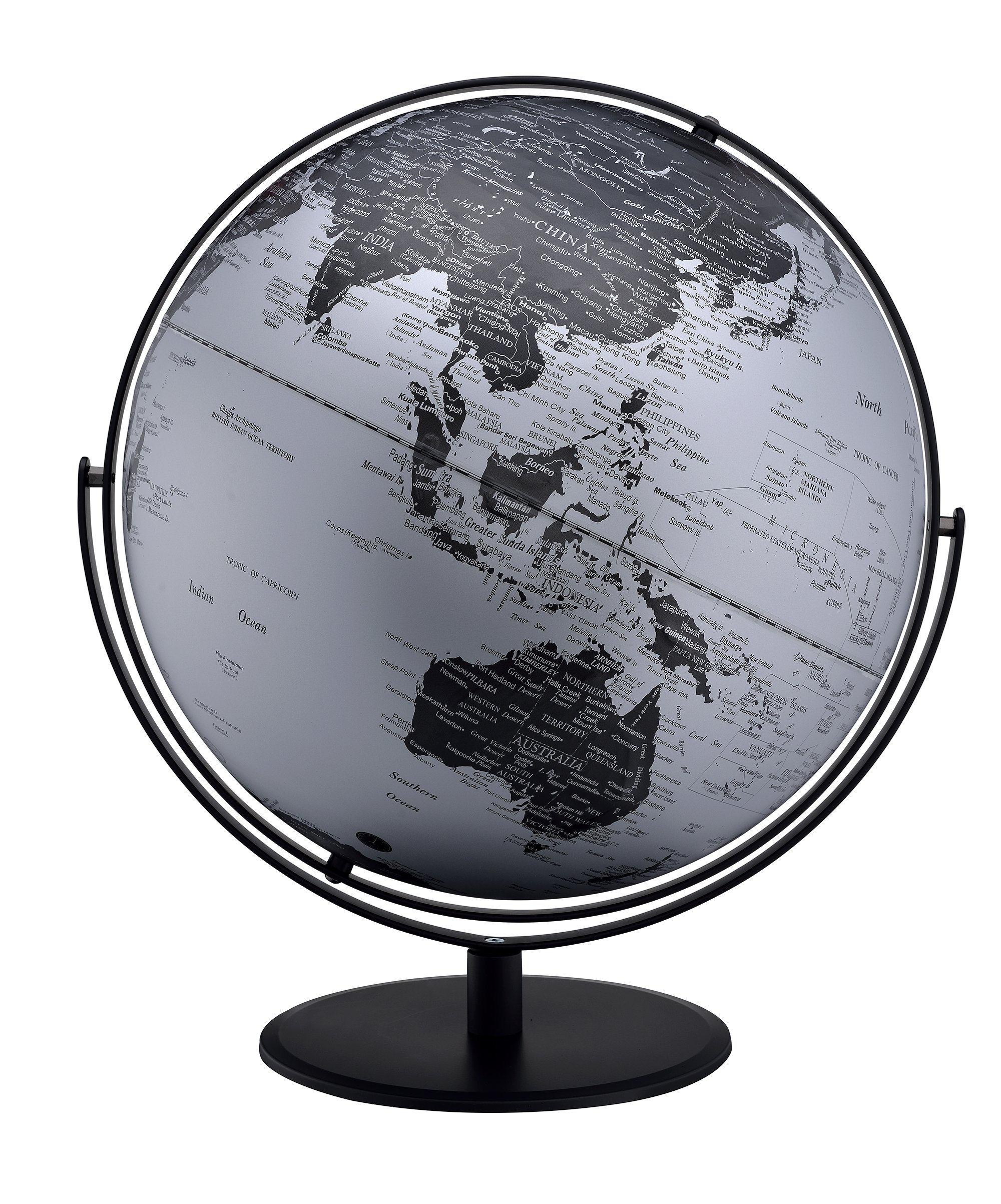 Ore International MS-217M23 World Globe, Black/Silver