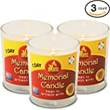 1 Day Yahrtzeit Candle - 3 Pack - 24 Hour Kosher Memorial and Yom Kippur Candle in Glass Jar - by Ner Mitzvah