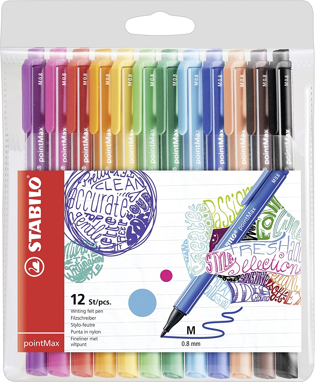 Stabilo Pointmax Nylon Tip Pen, Multicolored (Pack of 12)