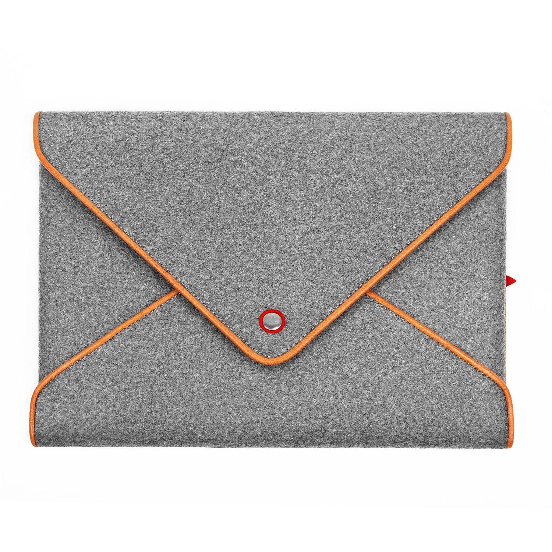 TOPHOME Wool Felt Bag Grey Pouch Cover Button Genuine Leather Edge Compatible for iPad Air 1 iPad Air 2 iPad 2 3 4 EWmaiPA