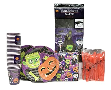 Halloween Frankenstein Jack Ou0027Lantern Party Paper Plates Party Supplies 28 - 9  sc 1 st  Amazon.com & Amazon.com: Halloween Frankenstein Jack Ou0027Lantern Party Paper ...