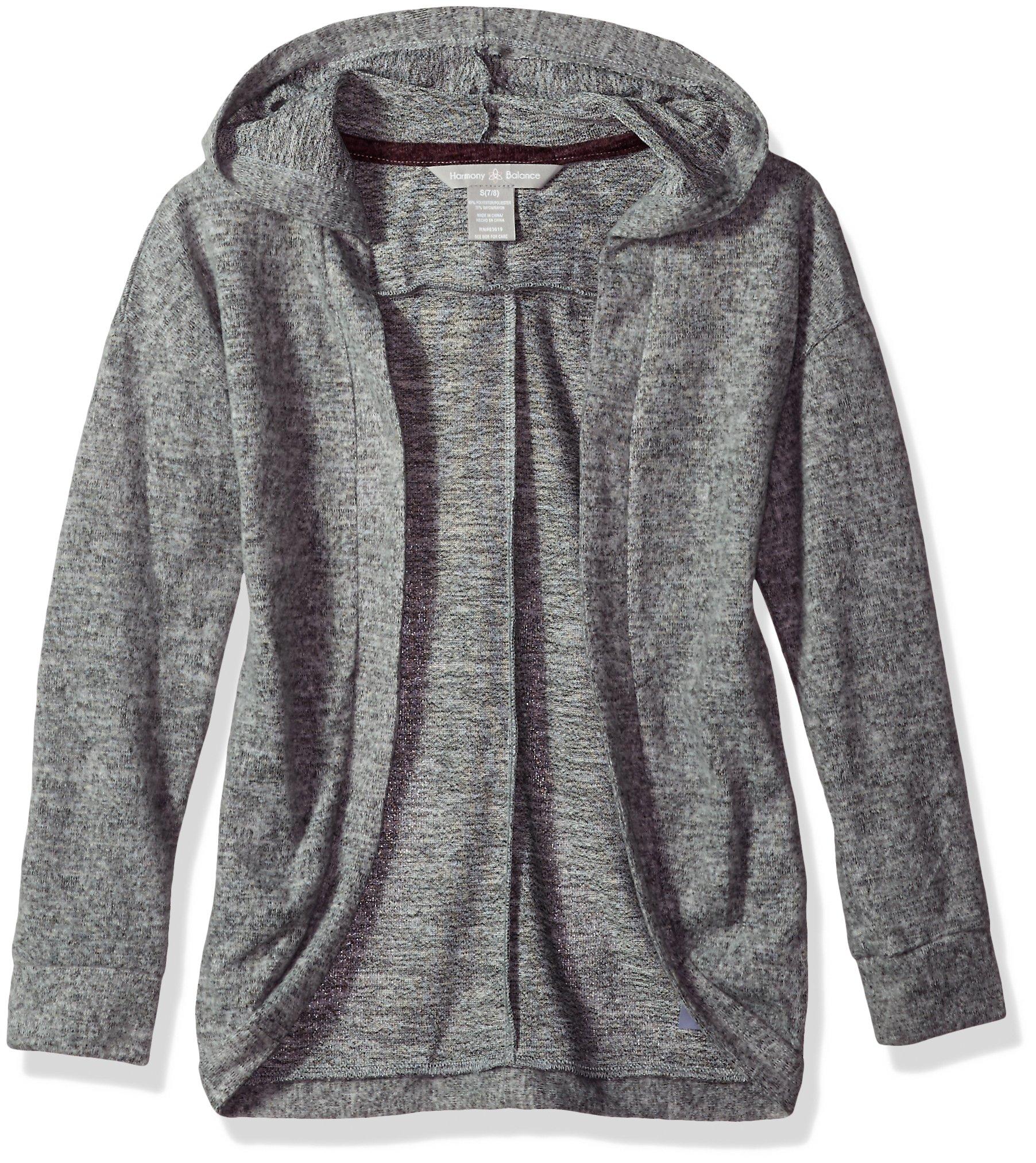 Harmony and Balance Girls' Big Long Sleeve Sweater Knit Top, Gray Heather, 7/8