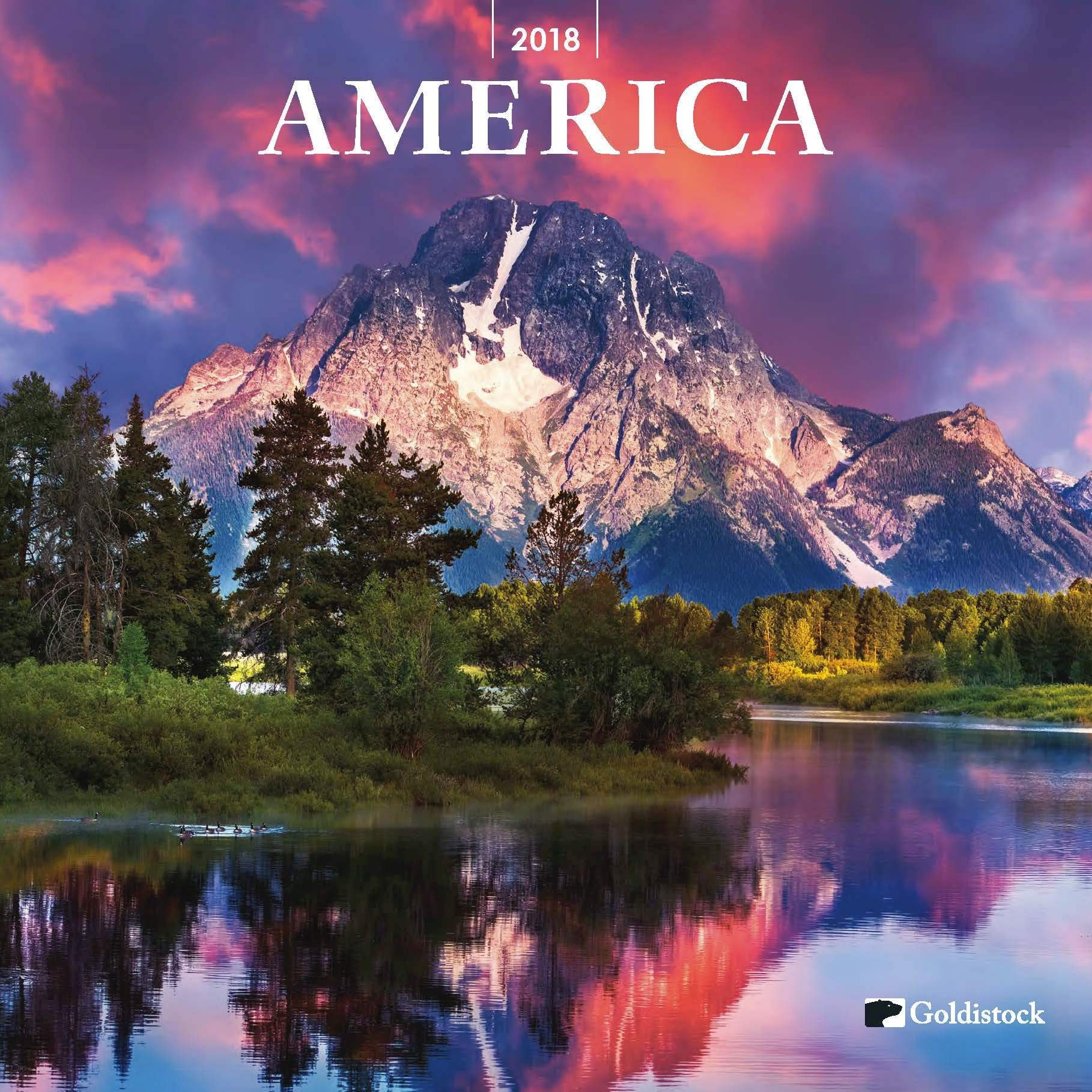 Goldistock -''America- from Sea to Shining Sea'' Eco-Friendly 2018 Large Wall Calendar - 12'' x 24'' (Open) - Thick & Sturdy Paper - Celebrating The Beauty of America