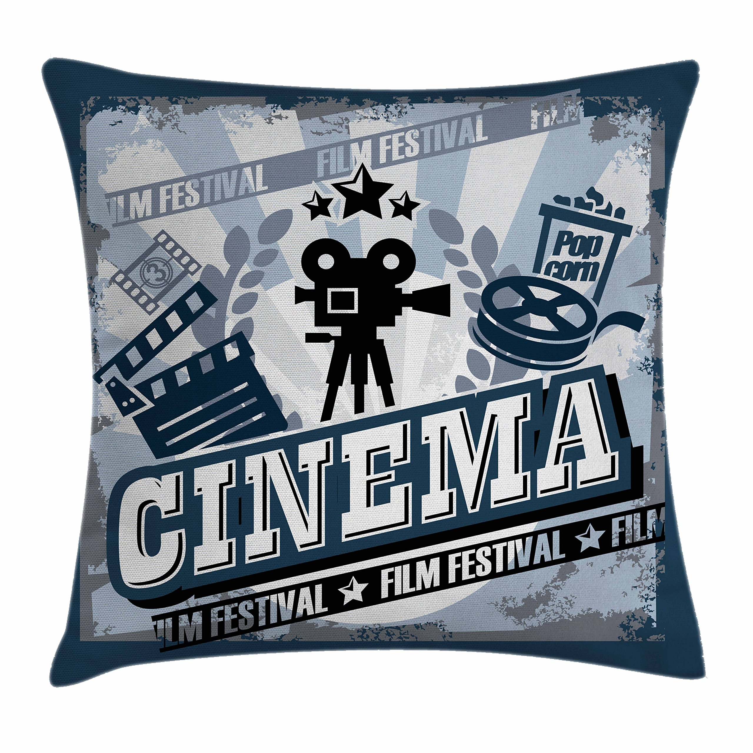 Ambesonne Movie Theater Throw Pillow Cushion Cover, Vintage Cinema Poster Design with Grunge Effect and Old Fashioned Icons, Decorative Square Accent Pillow Case, 16 X 16 inches, Blue Black Grey by Ambesonne