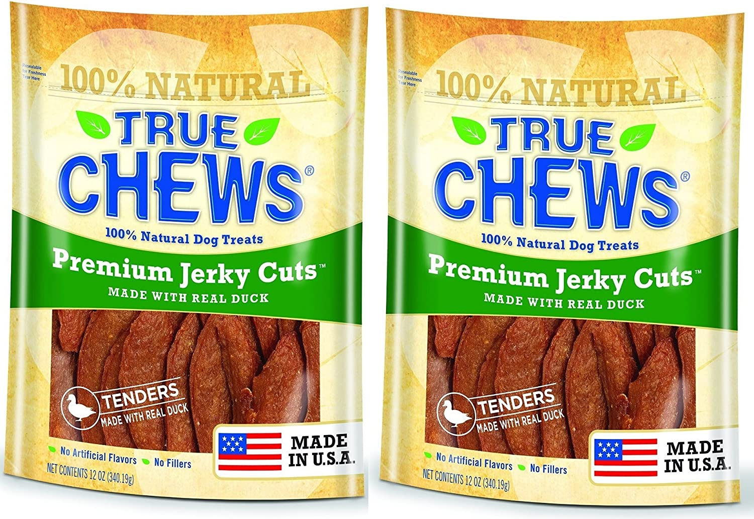 NATURAL HEALTHY PREMIUM DUCK JERKY DOG TREAT CHEWS 12 OUNCES MADE IN USA 2 BAGS