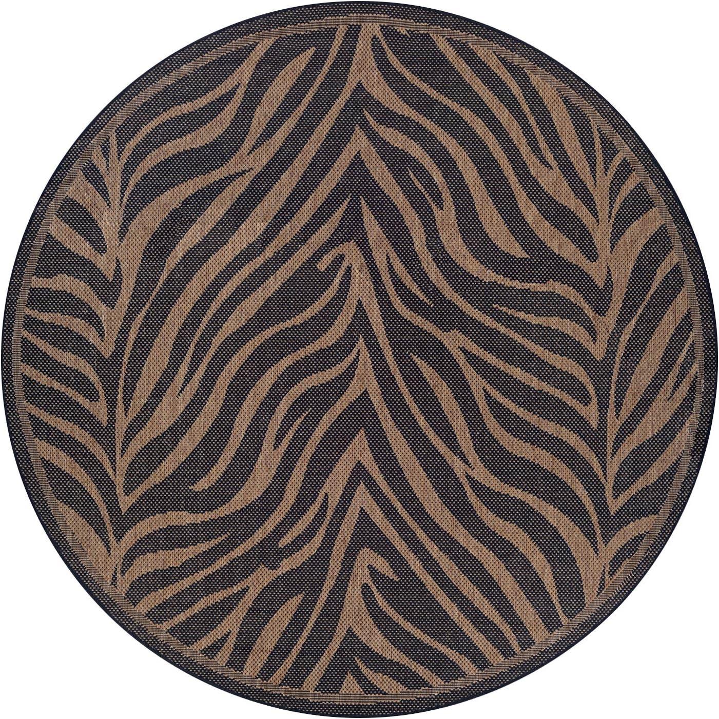 Couristan Round Recife Zebra Rug, 8-Feet 6-Inch, Black Cocoa