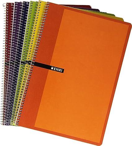 Enri 100430106 - Pack de 10 cuadernos con espiral simple, tapas ...