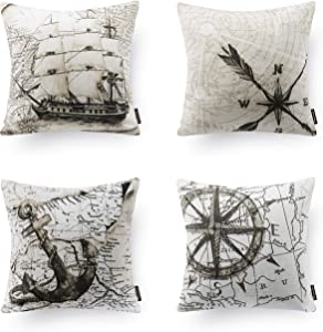Phantoscope Set of 4 Beige Decorative Ocean Series Map Compass Geography Throw Pillow Csae Cushion Cover 18 x 18 inches 45cm x 45cm