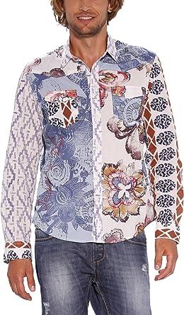 Desigual Pepito - Camisa de Manga Larga para Hombre, Talla 41, Color Antracita 008: Amazon.es: Ropa y accesorios