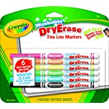 Crayola Washable Dry-Erase Fine Line Markers, 6 Classic Colors Non-Toxic Art Tools for Kids & Toddlers 3 & Up, Easy Clean Up, Won't Stain Hands or Clothes, Great for Classrooms