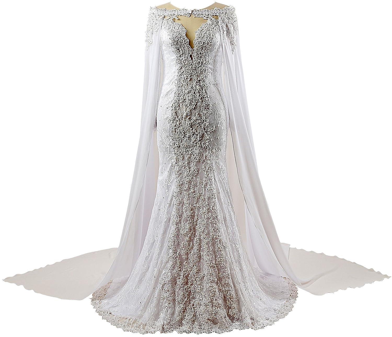 Changjie Womens Mermaid Lace Bridal Long Sleeves Wedding Dresses