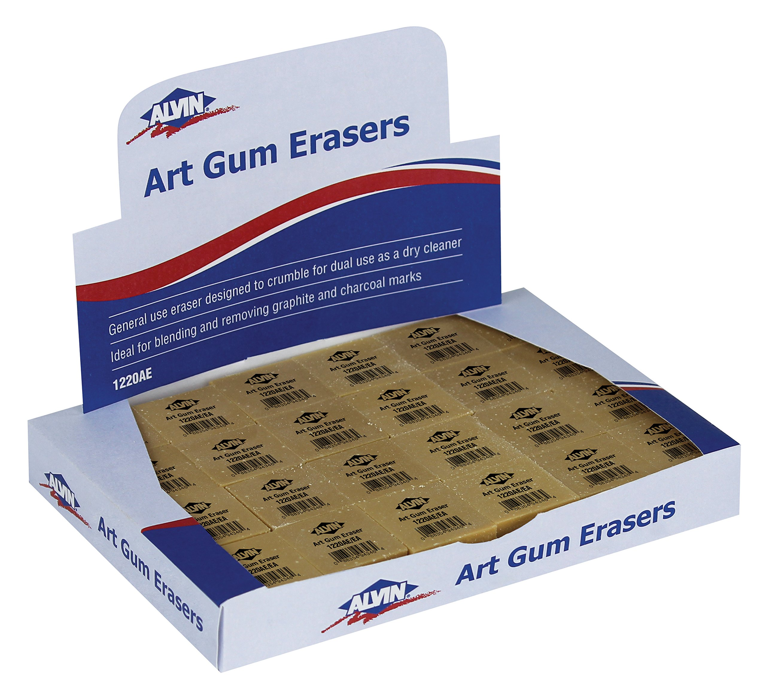 Alvin 1220AE 24/Box 1'' x 1'' x 3/4'' Art Gum Erasers
