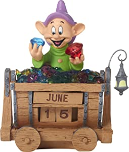 Precious Moments 172710 Dopey's Brilliance Resin Perpetual Calendar Disney Showcase, Snow White & Seven Dwarves, Multi