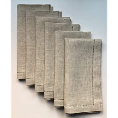 Minhcraft Natural Linen Hem Stitch Dinner Napkins - Set of 6 20 x20 -Ladder hemstitch 100% Linen Cloth Napkins