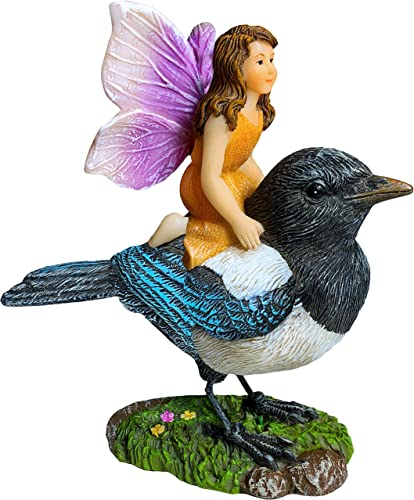 Mood Lab Fairy Garden Miniature Kit – Fairy On Bird – Figurines Accessories for Outdoor or House Decor
