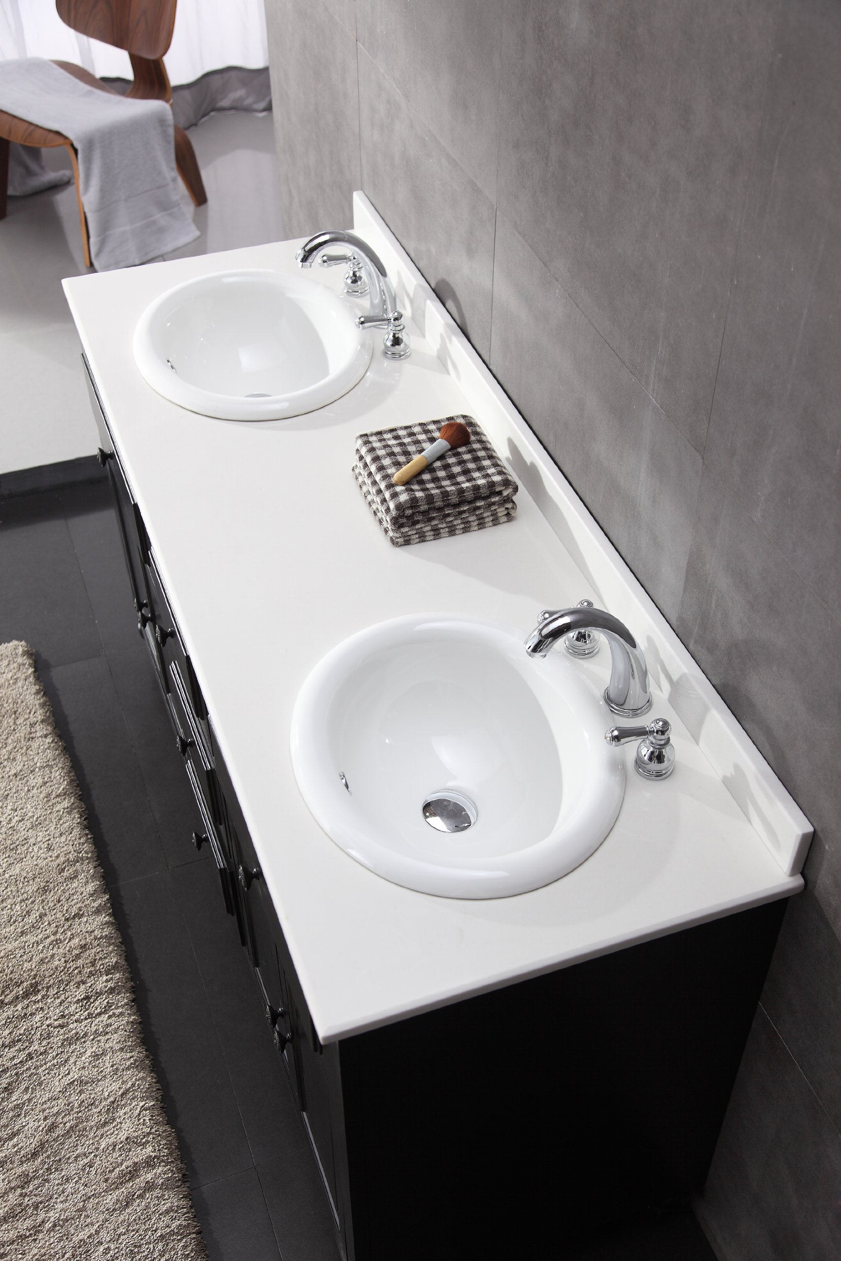 Ove Decors KensingtonDBL-VB Double Vanity with White Marble Countertop and Double Ceramic Basins, 60-Inch Wide, Dark Stain - Solid hardwood furniture Dark stain finish Sealed white man-made marble countertop and overmount ceramic basin - bathroom-vanities, bathroom-fixtures-hardware, bathroom - 912oCQti4nL -
