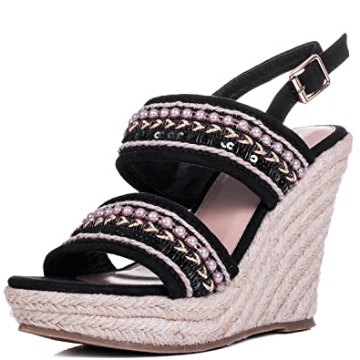 Adjustable Buckle Wedge Heel Sandals Shoes Black Suede Style SZ 6 Spylovebuy