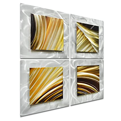 Amazon.com: Pure Art Movement in Squares - Small Brown Modern Metal ...