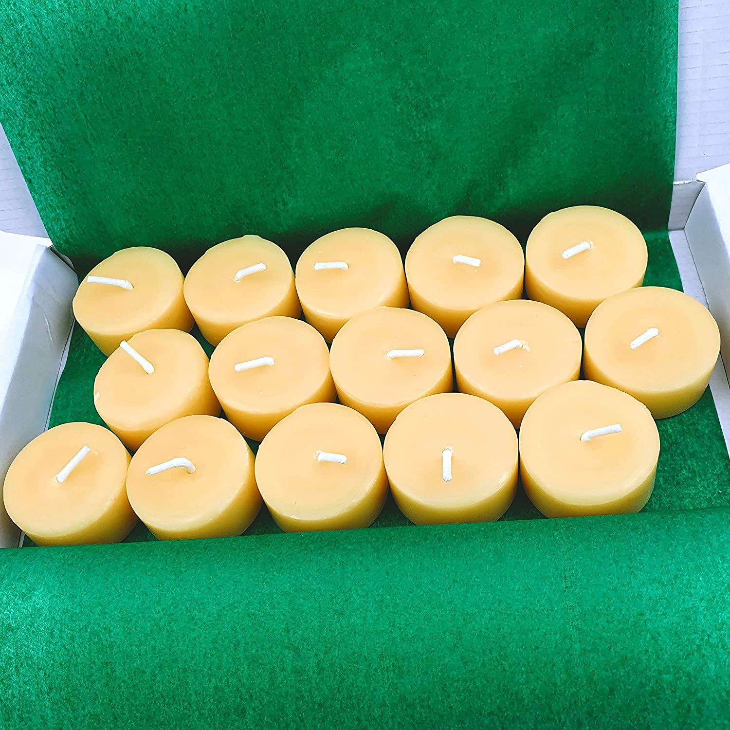 BEE Zero Waste Beeswax tea light candles sustainable tea candle pack of 15 NO CUPS plastic free natural tealights