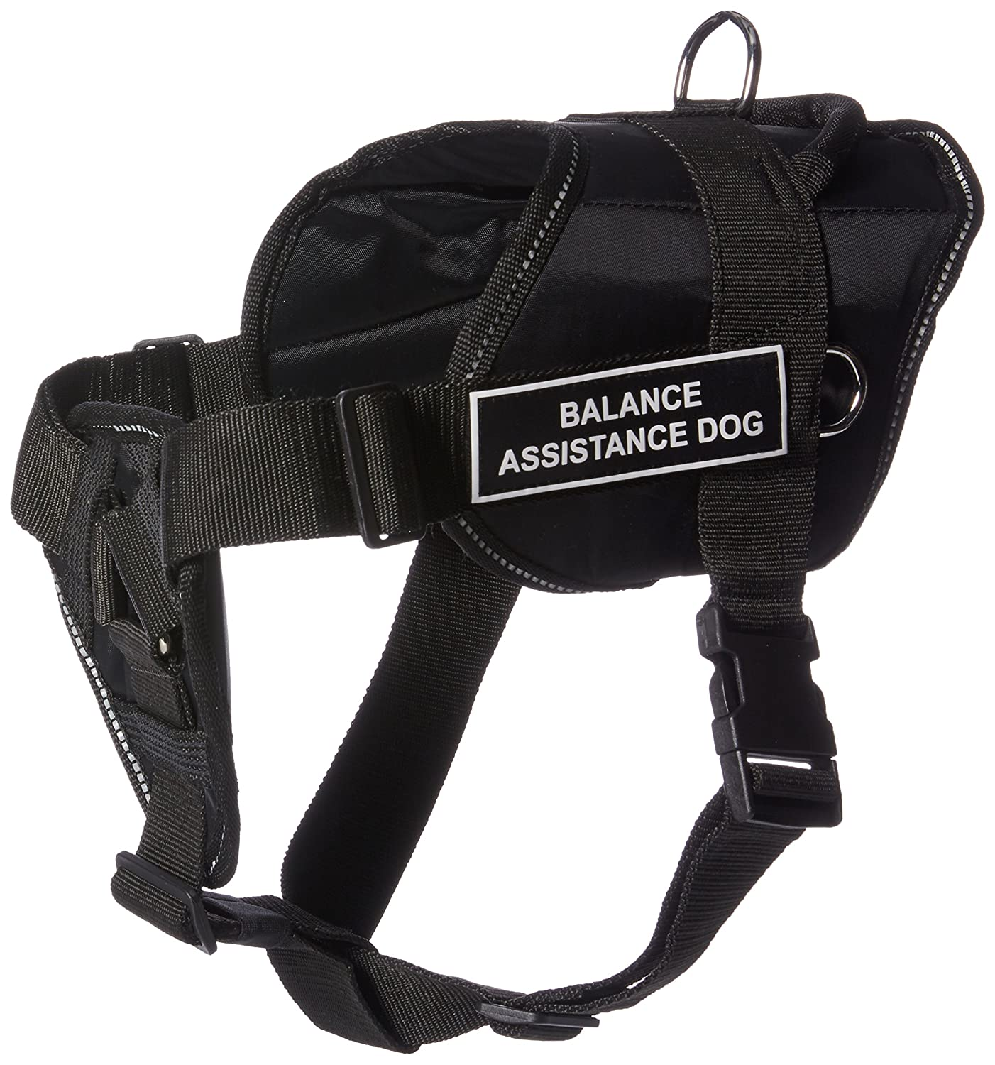Dean & Tyler Fun Works Balance Assistance Dog Harness with Padded Chest Piece, Large, Fits Girth Size  32-Inch to 42-Inch, Black with Reflective Trim