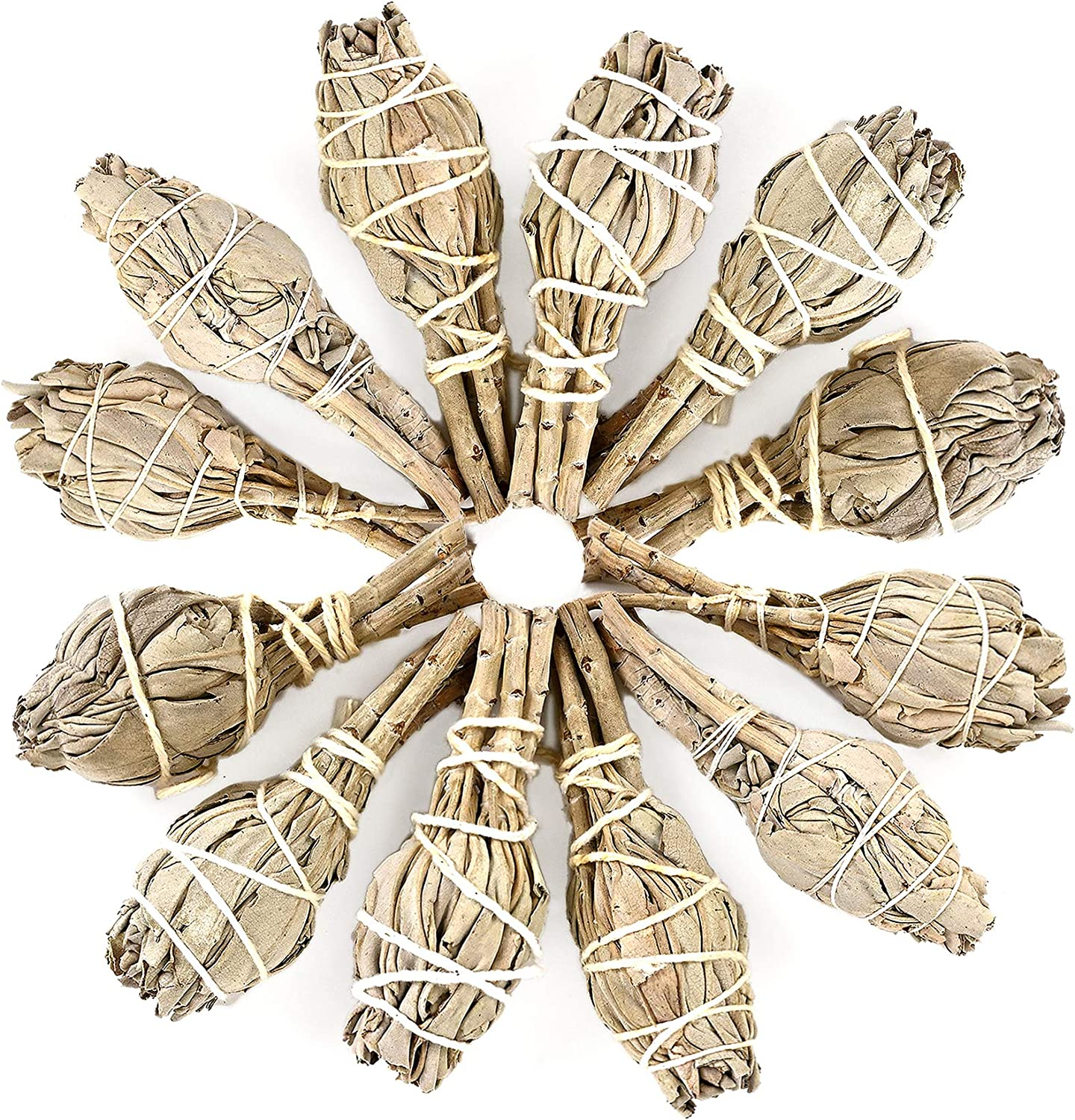 Premium California White Sage 4 Inch Smudge Sticks - Torch Wands Home Cleansing, Fragrance, Meditation, Yoga, Blessing, Smudging Rituals, New Home (12 Pack)