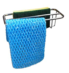 2-in-1 Kitchen Sink Caddy | Sponge + Dish Cloth Hanger Combo | Stainless Steel Kitchen Sink Organizer Holder | No Suction Dishcloth Storage for Swedish Cloths | Uses Strong Detachable 3M Tape